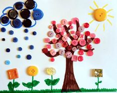 Creatief met knopen en knoopjes - knutseltips | knoopjes | knutselen | knopen | De Knutseljuf Ede Diy And Crafts, Triangle, Activities, Early Education, Outfit, Manualidades, Picture Tree, Fall, Tutorials