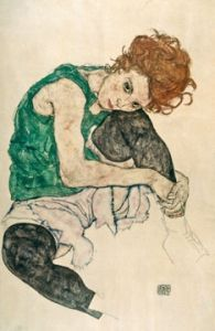 Seated Woman With Bent Knee - Egon Schiele - Protégé of Gustav Klimt, and a major figurative painter of the early century. The twisted body shapes that characterize Schiele's paintings and drawings make the artist a notable exponent of Expressionism. Art And Illustration, Figure Drawing, Painting & Drawing, Art Amour, Figurative Kunst, Fine Art, Art Design, Interior Design, Oeuvre D'art