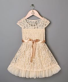 Peach Lace Dress - Toddler & Girls