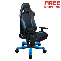 Dxracer Office Chair X Large PC Gaming Computer Executive Rocker Chair KF57NB.Black and blue,#freeshipping,#safe,#classic