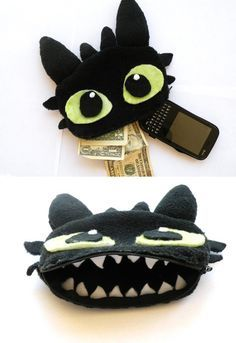 Felt Toothless Phone/Money Pouch by lemon-stockings