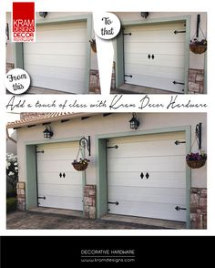 It's the little things that matter. Your garage door is one of the biggest surfaces on the outside of your home so you can choose to ignore or give it a much needed face lift to enhance the curb appeal of your home. Garage Door Decor, Garage Doors, House Doors, House Made, Curb Appeal, Hardware, Ads, Outdoor Decor, Change