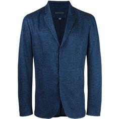 John Varvatos hook and bar blazer (19,410 MXN) ❤ liked on Polyvore featuring men's fashion, men's clothing, men's sportcoats and blue