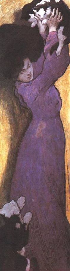 Janos Vaszary, 'Woman in Lilac Dress with Cat', 1900