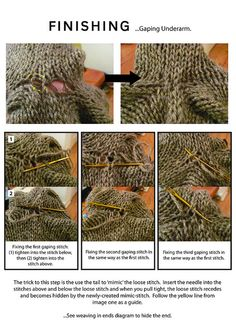 Weaving ends to fix underarm holes in seamless raglan