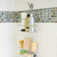 hang a hook at the back of the shower to hang a caddy - extra storage!