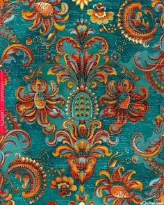 fabric clay & teal - Yahoo Search Results - Best Wallpaper Textures Patterns, Fabric Patterns, Print Patterns, Motifs Textiles, Boho Home, Orange And Turquoise, Teal Blue, Colour Schemes, Colour Palettes