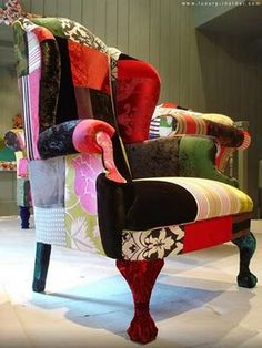 - What could be funkier than a patchwork pillow? Patchwork sofas, chaise, chairs and ottomans!Furniture designer Lisa Whatmough, from London, En. Eclectic Living Room, Living Room Chairs, Dining Chairs, Funky Furniture, Home Furniture, Furniture Ideas, Eclectic Furniture, Upholstered Furniture, Repurposed Furniture