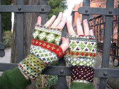 crochet hand warmers...love the colors and asymmetry