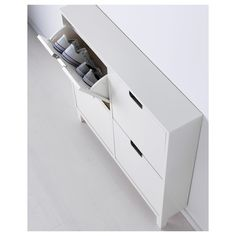 IKEA - STÄLL, Shoe cabinet with 4 compartments, white, Helps you organize your shoes and saves floor space at the same time. The cabinet only has legs at the front so it can stand close up to the wall above the baseboard. of 8 pairs of shoes. Shoe Cabinet Design, Ikea Shoe Cabinet, Armoire Ikea, Corner Storage, Hidden Storage, Storage Spaces, Shallow Cabinets, Ikea Organization, How To Store Shoes