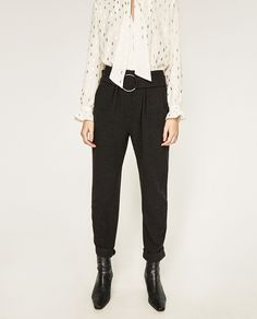 TROUSERS WITH BUCKLE AT THE WAIST DETAILS 49.90 USD