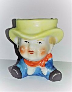 Rare Old Vintage Man In A Yellow Hat Lustre Glaze Egg Cup Egg Cups, Vintage Easter, Luster, Vintage Men, Glaze, Eggs, Yellow, Hat, Faces