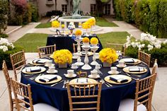 Navy and Yellow Wedding table. Credit: Event Styling & Graphic Design: Jenn Sbranti / HWTM