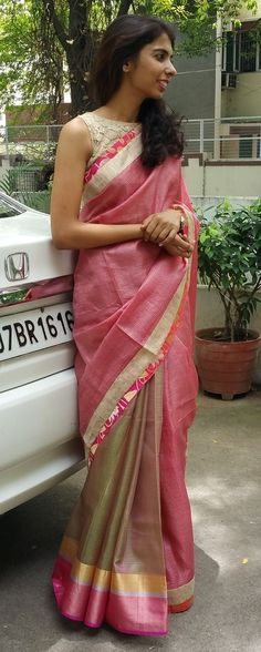 Half & half saree in shaded green and pink Indian Attire, Indian Ethnic Wear, Ethnic Outfits, Indian Outfits, Indian Sarees, Kota Sarees, Kerala Saree, Simple Sarees, Elegant Saree