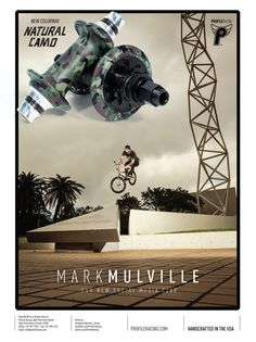 Profile Racing / Mark Mulville advert in BMX Plus. New Natural Camo colourway. Ad by Adi Gilbert / 99seconds.com - Photo by Dolecki Bmx, Sci Fi, Racing, Profile, Graphics, Natural, Running, User Profile, Science Fiction