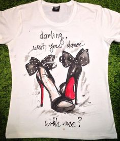 Hand painted hight heels on shirt. Black Red by palettePandora