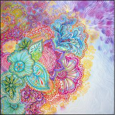 Beautiful Zentangles and watercolours.  I can see there will be no stopping now - think of all the possibilities for needle doodling something like this and building it up from one of the corners.