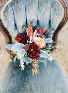 fall wedding palette #bouquet #fancy http://www.weddingchicks.com/2014/02/14/bold-meets-soft-fall-wedding-inspiration/