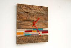 Reciclado madera pared reloj moderno, reloj de madera con acento de arte, estilo madera de granero