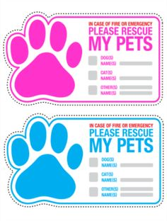 Good Idea for pet owners! Emergency Fire Pet Rescue Stickers.Only $8.99 per page at Stickeryou.com