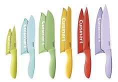 """This 12-Piece set includes an, 8"""" Chef Knife, 8"""" Slicing Knife, 8"""" Bread Knife, 7"""" Santoku Knife, 6.5"""" Utility Knife, 3.5"""" Paring Knife and each knife comes with a matching blade guard."""