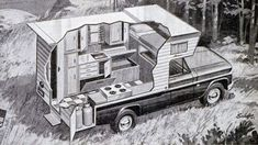 Pickup Truck Camper Cutaway 1967 lived in one when first moved to SD. Truck Bed Trailer, Best Truck Camper, Slide In Truck Campers, Truck Camper Shells, Pickup Camper, Truck Camping, Pickup Trucks, F150 Truck, Vintage Campers Trailers
