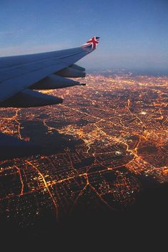 City Lights. Source: plasmatics-life     /    Tumblr: Adventure, London, Airplane, City Lights, Places, Travel, Planes, Photography, Wanderlust