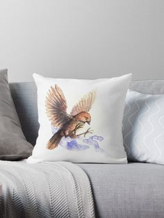 Litle and cute bird. Pillow with a Sparrow. A cute little bird. Adorable and lovely. A nice watercolor illustration of bird. Framed Prints, Canvas Prints, Art Prints, Bird Pillow, Cute Birds, Designer Throw Pillows, Pillow Design, Watercolor Illustration, Sell Your Art