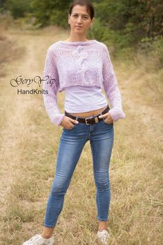 Light pink lavender color wool handknit cropped sweater hand made sweater mohair effect Lavender Color, Metallic Thread, Fit S, Cropped Sweater, Hand Knitting, Boho Fashion, Skinny Jeans, Wool, Sweaters