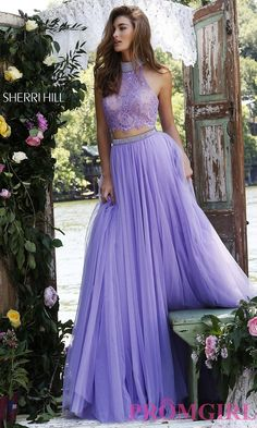 High Neck Sherri Hill Two Piece Prom Dress with Lace Top in Lilac/Nude