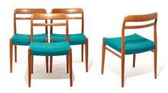 "ALF AARSETH Modell ""145"", Gustav Bahus Eft. 1960-tallet. Rammeverk i teak. Trukket i stoff. ANTALL 4"
