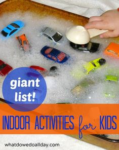 Giant List of Indoor Activities for Kids - Giant List of Indoor Activities for Kids Keep your Kids Busy! A huge list of indoor activities for kids ranging from art, math, literacy, motor skills and more. Indoor Activities For Kids, Learning Activities, Preschool Activities, Games For Kids, Kids Learning, Indoor Games, Kids Fun, Indoor Play, Family Activities
