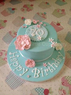 #Vintage 70th birthday cake - Not blue but maybe can use some of these elements