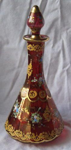 Fine 19th Century Bohemian Art Glass Perfume Bottle