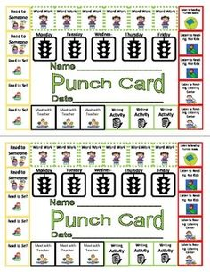 DAILY FIVE (5) CENTERS MANAGED INDEPENDENT LEARING PUNCH CARD - TeachersPayTeachers.com