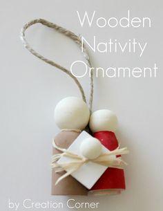Wooden nativity ornament