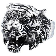 * Penny Deals * - MENSO Men's Vintage Gothic Tribal Biker Tiger Head Skull Stainless Steel Ring Band Silver/Black/Glod 7 ** For more information, visit image link.