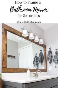diy bathroom How to Frame a Builder Grade Bathroom - Bathroom Mirrors Diy, Bathroom Interior, Bathroom Ideas, Master Bathrooms, Bathroom Designs, Bathroom Organization, Neutral Bathroom, Luxury Bathrooms, Bathroom Mirror Makeover