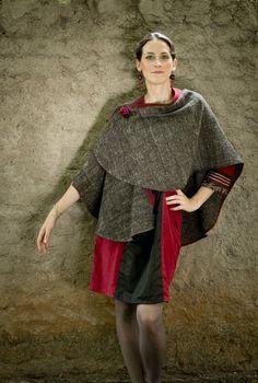Ophelis red and black in cotton/silk Gayatri grey wool
