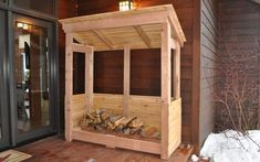 Learn how to build a firewood rack to store and dry out logs. DIY PETE provides a video tutorial, project photos, and FREE firewood rack plans. Firewood Rack Plans, Indoor Firewood Rack, Firewood Storage, Wooden Storage Sheds, Storage Shed Plans, Tool Storage, Diy Storage, Storage Ideas, Lumber Rack