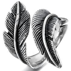 Men,Women's Stainless Steel Ring Black Silver Feather Vintage *** You can get more details by clicking on the image.