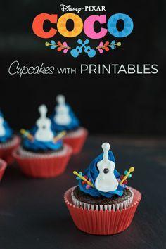 Whoa! Adorable Disney Pixar Coco Inspired Guitar Cupcakes Recipe with Printables