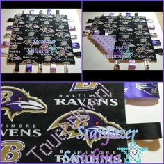 """Customized Taggie Blanket: """"Touchdown!"""" ~Size: approx. 12"""" x 12"""" ~Fabric: Cotton (front), Minky (back)"""