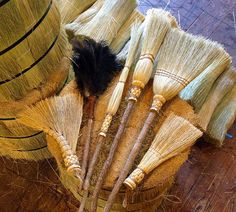 The Kitchen Witch Spring Cleaning Broom Set. Even includes a special broom for corner cobwebs. Broom Corn, Witch Broom, Witch Spring, Brooms And Brushes, Whisk Broom, Which Witch, Hedge Witch, Eclectic Witch, Wiccan