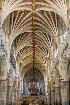 Exeter Cathedral and organ by Jenny Setchell Church Architecture, Beautiful Architecture, Architecture Design, Exeter Cathedral, Parvis, Bothy, Church Building, Vaulting, 17th Century