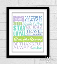 Inspirational Quote, Words to Live by - Bright Color Typography Art Print, Wall Decor Poster Print - 8x10 size