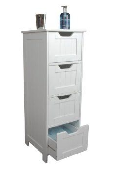 Slim white wood storage cabinet - four drawers - bathroom, bedroom: Amazon.co.uk: Kitchen & Home