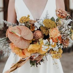 Love the colours in this bouquet - beautiful for an autumnal wedding. And considering it feels like autumn right now, feels apt! photo: florals: dress: Via Unique Wedding Favors, Rustic Wedding, Outside Wedding, Wedding Ceremony, Wedding Colors, Wedding Styles, Backyard Wedding Lighting, Ceremony Decorations, How To Introduce Yourself