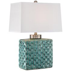 Sloane Celadon Woven Ceramic Table Lamp
