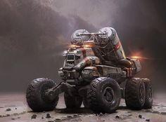 Mining truck vehicle, Halo 5, John Wallin Liberto on ArtStation at https://www.artstation.com/artwork/mining-truck-vehicle-halo-5: